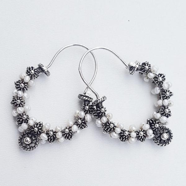 Dalmatian earrings pearls