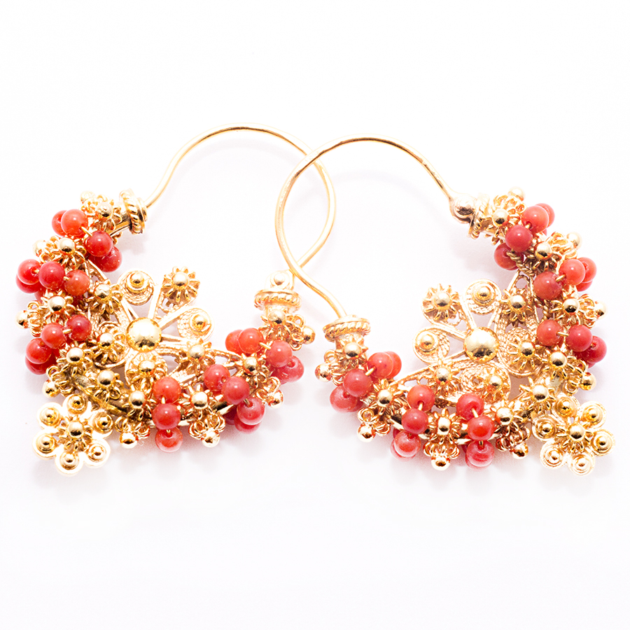 Coral earrings traditional