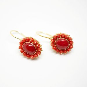 corals gold earrings
